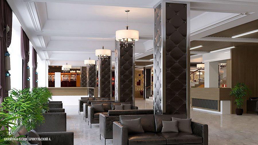 Холл санаторно-гостиничного комплекса в южном городе