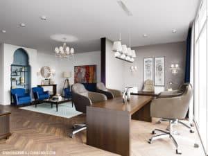 Дизайн кабинета в коттедже в Одессе