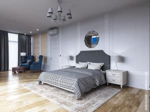 Дизайн спальни в одесском коттедже