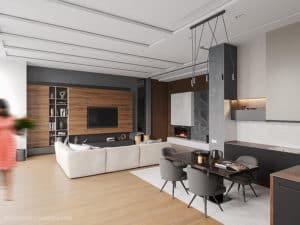 Дизайн кухни двухуровневой квартиры