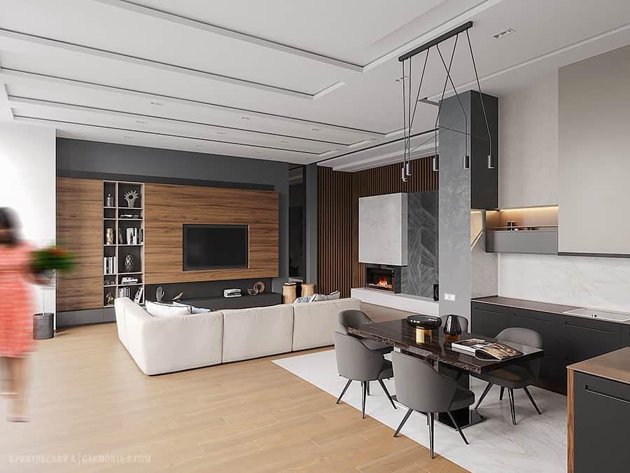 Дизайн интерьера двухуровневой квартиры в современном стиле. Одесса 2019
