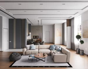 Дизайн гостиной двухуровневой квартиры в Одессе