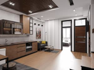 Дизайн первого этажа двухуровневой квартиры в Одессе