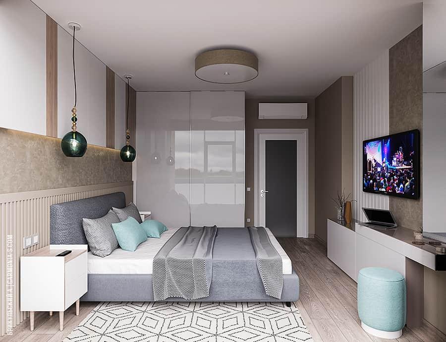 Интерьера небольшой спальни в современном стиле в Одессе