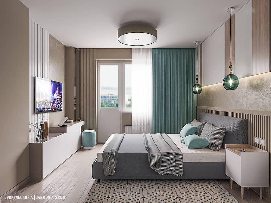 Современная спальня с бирюзовым цветом