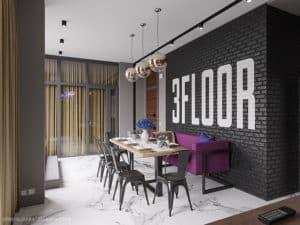 Дизайн кухни-студии двухуровневой квартиры в современном стиле
