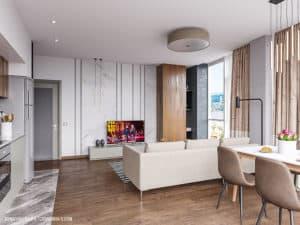 Дерево и мрамор в дизайне квартиры в Одессе