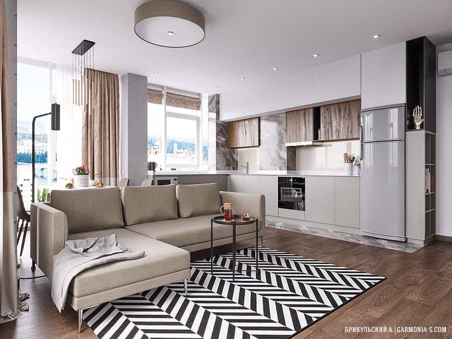 Дизайн интерьера двухкомнатной квартиры в Одессе в ЖК Таировские Сады