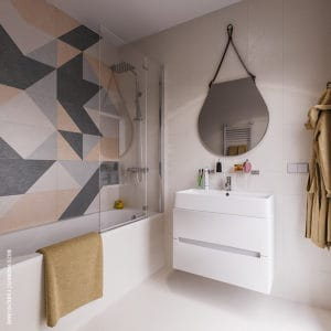 Дизайн современной ванной с круглым зеркалом