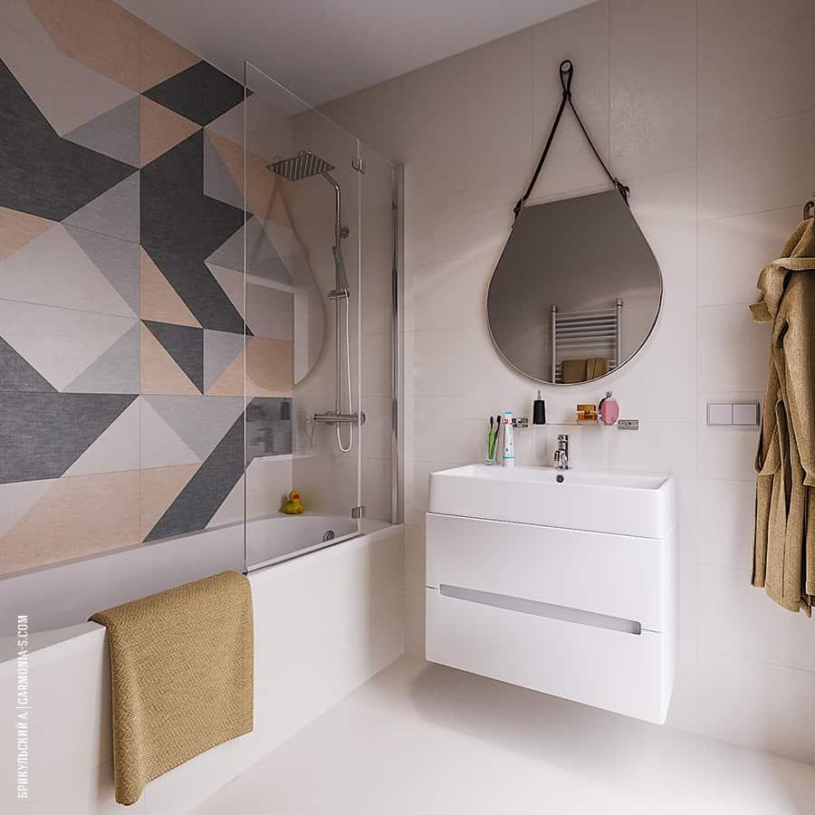 Геометрическая плитка в современной ванной в Одессе