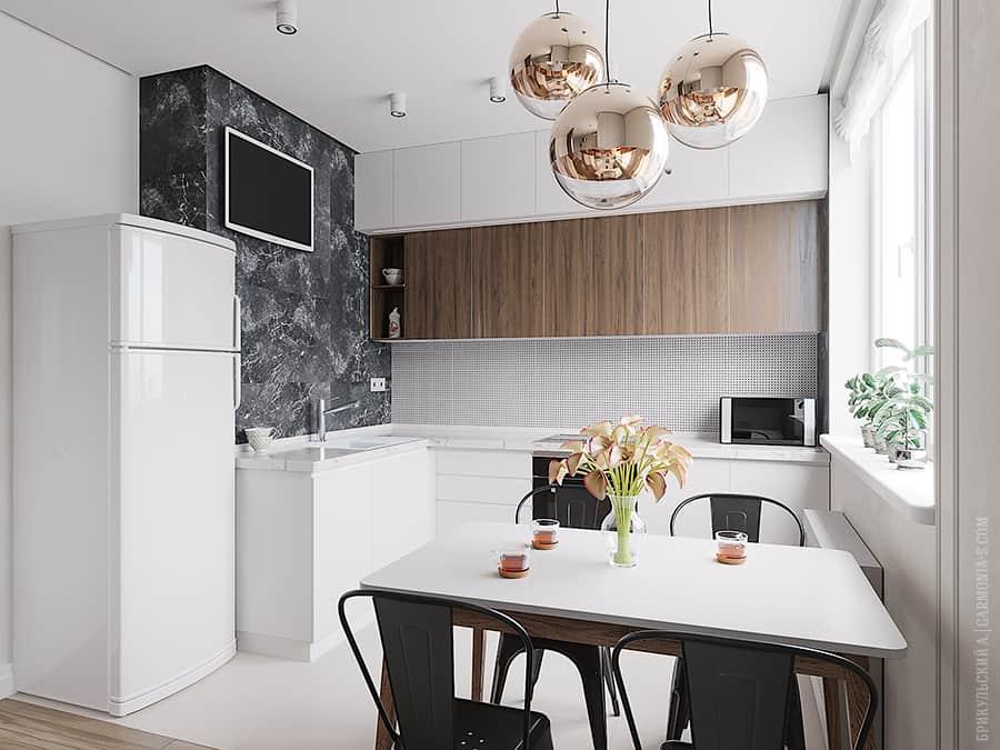 Дизайн кухни-студии в светлых тонах