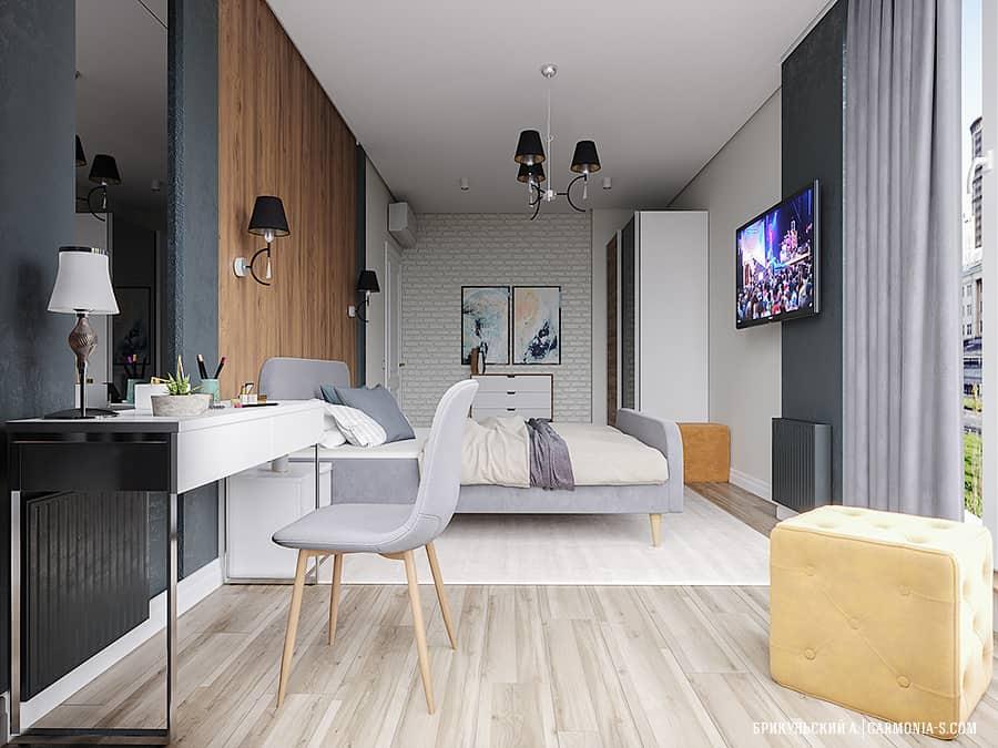 Спальня в современном стиле: дерево и кирпич