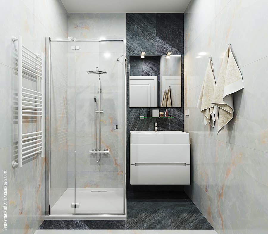 Современный стиль в ванной ЖК Цветной бульвар