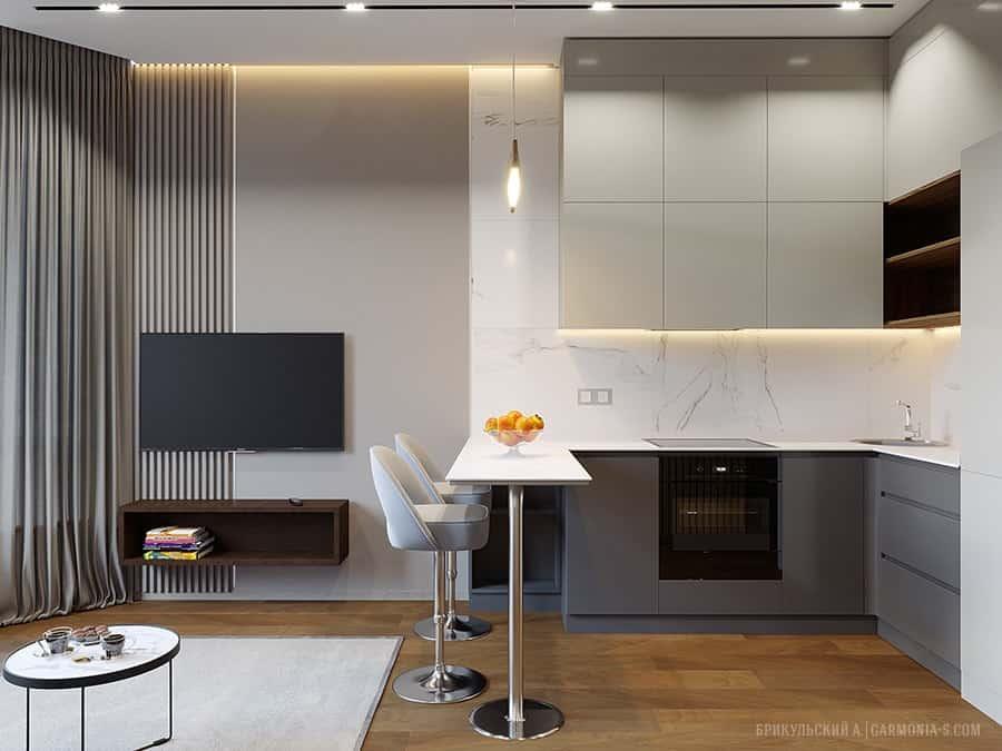 Дизайн однокомнатной квартиры с кухней-студией в ЖК Элегия г. Одесса