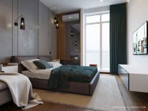 Дизайн интерьера темной спальни в современном стиле - 2020 год.