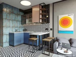 Дизайн интерьера кухни в смарт-квартире