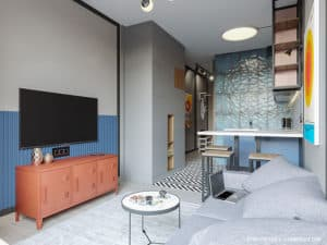 Дизайн интерьера гостиной в смарт-квартире